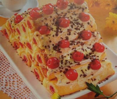 Полено с вишнями рецепт с фото